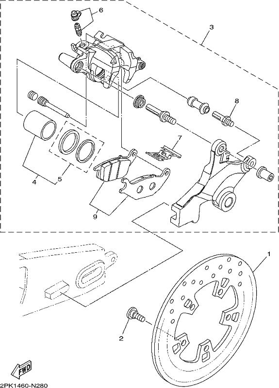 yzf-r15 2017 - rear brake caliper